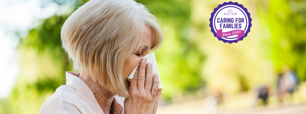Surviving Spring Allergies with a woman blowing her nose.