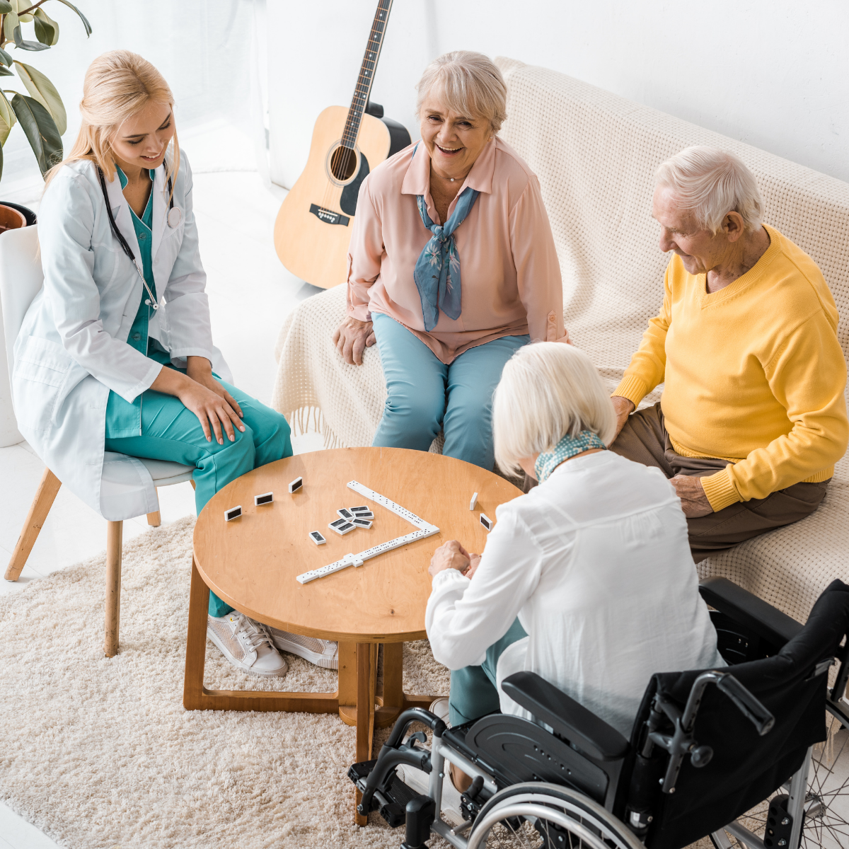 Playing games at a nursing home vs at home health care
